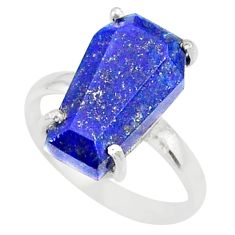 5.20cts coffin natural blue lapis lazuli 925 silver solitaire ring size 6 r81802