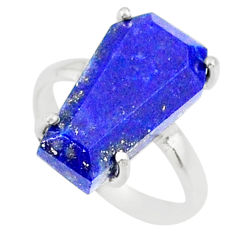 5.92cts coffin natural blue lapis lazuli 925 silver solitaire ring size 6 r81803