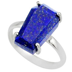 5.20cts coffin natural blue lapis lazuli 925 silver solitaire ring size 7 r81791