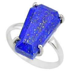 6.27cts coffin natural blue lapis lazuli 925 silver solitaire ring size 7 r81792