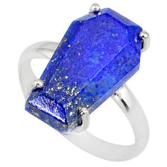 5.92cts coffin natural blue lapis lazuli 925 silver solitaire ring size 7 r81794