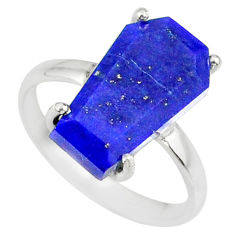 5.54cts coffin natural blue lapis lazuli 925 silver solitaire ring size 7 r81797
