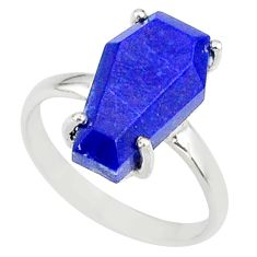 4.86cts coffin natural blue lapis lazuli 925 silver solitaire ring size 7 r81856
