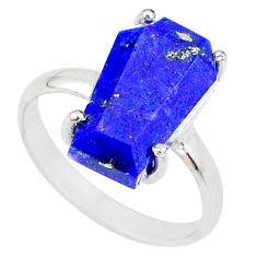 5.54cts coffin natural blue lapis lazuli 925 silver solitaire ring size 7 r81860