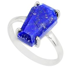 5.13cts coffin natural blue lapis lazuli 925 silver solitaire ring size 8 r81834