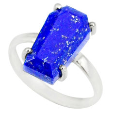 5.54cts coffin natural blue lapis lazuli 925 silver solitaire ring size 8 r81836