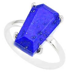 5.92cts coffin natural blue lapis lazuli 925 silver solitaire ring size 8 r81837