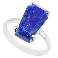 5.54cts coffin natural blue lapis lazuli 925 silver solitaire ring size 8 r81838