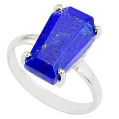 5.54cts coffin natural blue lapis lazuli 925 silver solitaire ring size 8 r81853