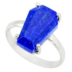 5.59cts coffin natural blue lapis lazuli 925 silver solitaire ring size 8 r81858