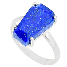5.22cts coffin natural blue lapis lazuli 925 silver solitaire ring size 8 r83562