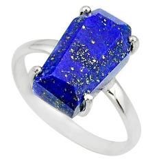 6.15cts coffin natural blue lapis lazuli 925 silver solitaire ring size 9 r81774