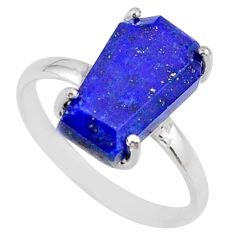 5.92cts coffin natural blue lapis lazuli 925 silver solitaire ring size 9 r81777