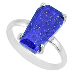 5.54cts coffin natural blue lapis lazuli 925 silver solitaire ring size 9 r81778