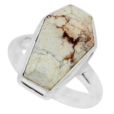 7.78cts coffin natural bronze wild horse magnesite 925 silver ring size 8 r96091