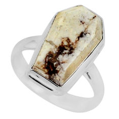 7.61cts coffin natural bronze wild horse magnesite 925 silver ring size 8 r96095