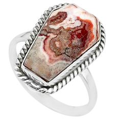 7.97cts coffin natural brown rosetta stone jasper 925 silver ring size 8 t17499