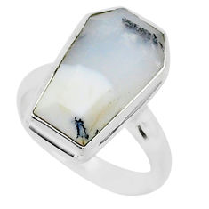 7.94cts coffin natural dendrite opal 925 silver solitaire ring size 7 r96112