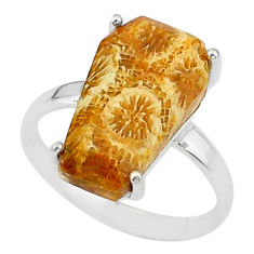 7.17cts coffin natural fossil coral petoskey stone 925 silver ring size 7 t17381