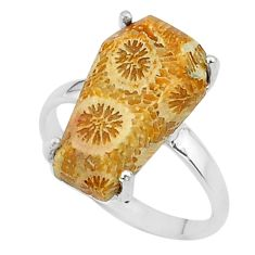 6.69cts coffin natural fossil coral petoskey stone 925 silver ring size 7 t17383
