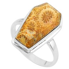 7.35cts coffin natural fossil coral petoskey stone 925 silver ring size 7 t17464