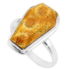 8.09cts coffin natural fossil coral petoskey stone 925 silver ring size 8 t17461