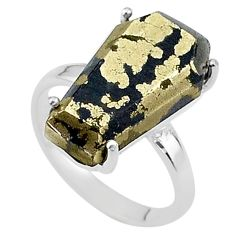 9.37cts coffin natural golden pyrite in magnetite 925 silver ring size 6 t17305