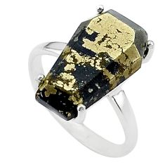 8.84cts coffin natural golden pyrite in magnetite 925 silver ring size 7 t17304