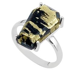 8.56cts coffin natural golden pyrite in magnetite 925 silver ring size 7 t17306