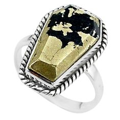 8.66cts coffin natural golden pyrite in magnetite 925 silver ring size 7 t17443
