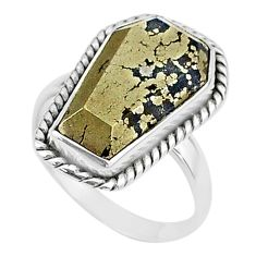 8.71cts coffin natural golden pyrite in magnetite 925 silver ring size 7 t17447