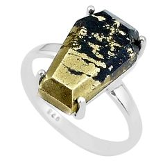 8.87cts coffin natural golden pyrite in magnetite 925 silver ring size 8 t17309