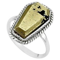 9.47cts coffin natural golden pyrite in magnetite 925 silver ring size 9 t17444