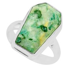 8.11cts coffin natural green mariposite 925 silver solitaire ring size 6 r96083
