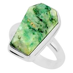 7.78cts coffin natural green mariposite 925 silver solitaire ring size 7 r96081