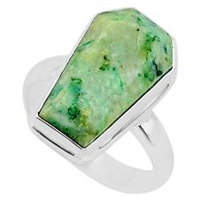 7.61cts coffin natural green mariposite 925 silver solitaire ring size 7 r96087