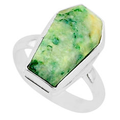 7.44cts coffin natural green mariposite 925 silver solitaire ring size 8 r96089