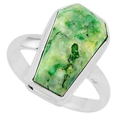 7.59cts coffin natural green mariposite 925 silver solitaire ring size 9 r96082