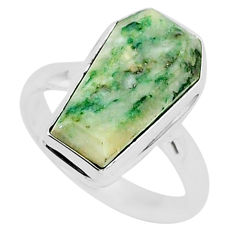 8.67cts coffin natural green mariposite 925 silver solitaire ring size 9 r96085
