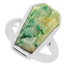 7.63cts coffin natural green mariposite silver solitaire ring size 7.5 r96090