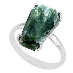7.66cts coffin natural green seraphinite (russian) 925 silver ring size 8 t17434