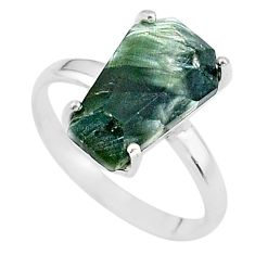 7.66cts coffin natural green seraphinite (russian) 925 silver ring size 9 t17436