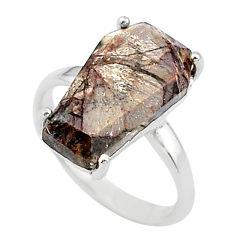 7.17cts coffin natural grey sonoran dendritic rhyolite silver ring size 7 t17339