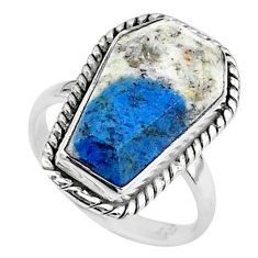 7.67cts coffin natural k2 blue (azurite in quartz) 925 silver ring size 6 t17457