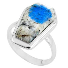7.25cts coffin natural k2 blue (azurite in quartz) 925 silver ring size 6 t17460