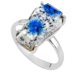 8.56cts coffin natural k2 blue (azurite in quartz) 925 silver ring size 8 t17349