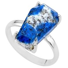 8.03cts coffin natural k2 blue (azurite in quartz) 925 silver ring size 8 t17352