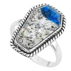 8.05cts coffin natural k2 blue (azurite in quartz) 925 silver ring size 8 t17423