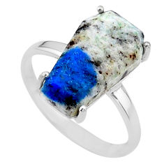 8.38cts coffin natural k2 blue (azurite in quartz) 925 silver ring size 9 t17348