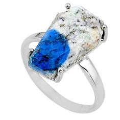 7.66cts coffin natural k2 blue (azurite in quartz) silver ring size 8.5 t17344